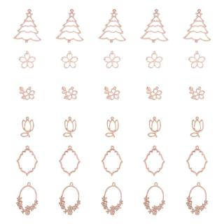 30pcs Plant Theme Open Bezel Charms 6-Style Alloy Frame Pendants Color-Lasting Hollow Resin Frames with Loop for Resin Jewelry Making - Rose Gold