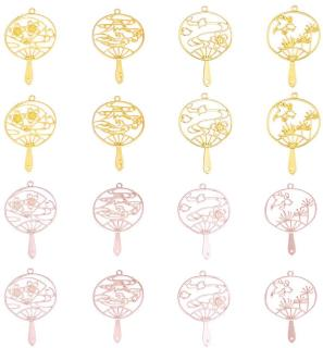 16pcs Fan Theme Open Bezel Charms 4-Style & 2-Color Alloy Frame Pendants Hollow Resin Frames with Loop for Resin Jewelry Making