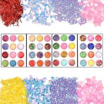 48 Boxes Resin Sequins 4-Pattern Iridescent Flakes Chunky Glitter Sequins for Jewelry Making Dace Body Hair Nail Arts