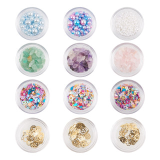 Nail Art Decoration with Acrylic Bead, Chip Bead, Cabochons, Glitters for Manicure Sequins, DIY Sparkly Paillette Tips Nail
