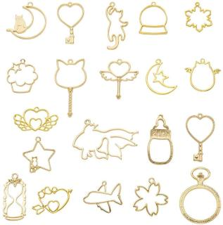 40pcs 20 Styles Golden Open Bezel Charms Hollow Mold Pendants Pressed Flower Frame Pendant for Resin Earrings Necklace Bracelet Crafts Jewelry Making