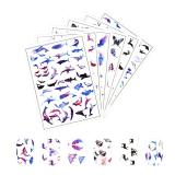 6 Sheets Resin Film Stickers 3D Animal Themed Decorative Stickers Filling Material for Resin Art