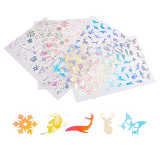 4 Sheets Transparent Resin Film Stickers Laser Effect Decorative Stickers Filling Material for Resin Art