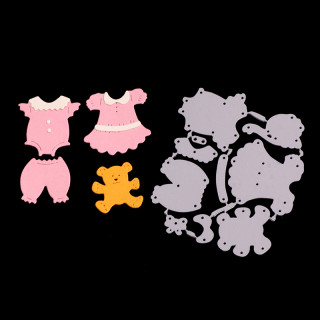 Baby Clothes Frame Carbon Steel Cutting Dies Stencils, for DIY Scrapbooking/Photo Album, Decorative Embossing DIY Paper Card, Matte Platinum, 9x7.6x0.08cm