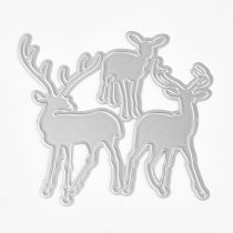 Frame Metal Cutting Dies Stencils, for DIY Scrapbooking/Photo Album, Decorative Embossing DIY Paper Card, Christmas Reindeer/Stag, Matte Platinum, 7.5x7.5cm
