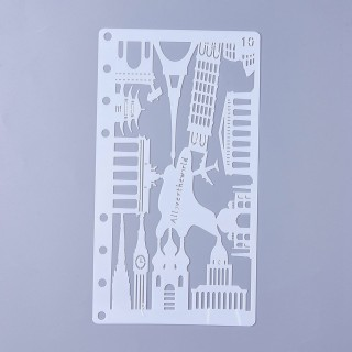Plastic Drawing Painting Stencils Templates, Building, White, 17.4x9.6x0.02mm