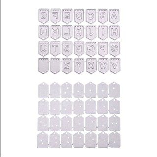 Frame Metal Cutting Dies Stencils, for DIY Scrapbooking/Photo Album, Decorative Embossing DIY Paper Card, Rectangle with Letter, Matte Platinum, 93x74x1mm