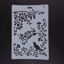 Plastic Drawing Painting Stencils Templates, Rectangle, Bird Pattern, White, 25.5x17.4x0.04cm