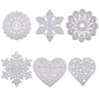 Flower Frame Metal Cutting Dies Stencils, for DIY Scrapbooking/Photo Album, Decorative Embossing DIY Paper Card, Matte Platinum, 6pcs/set