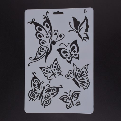 Plastic Drawing Painting Stencils Templates, Rectangle, Butterfly Pattern, White, 25.5x17.4x0.04cm