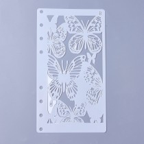Plastic Drawing Painting Stencils Templates, Butterfly, White, 17.4x9.6x0.02mm