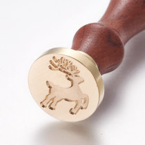 DIY Scrapbook, Brass Wax Seal Stamp and Wood Handle Sets, Christmas Reindeer/Stag, Golden, 8.95cm; Stamps: 2.55x1.45cm