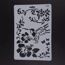 Plastic Drawing Painting Stencils Templates, Rectangle, Flower Pattern, White, 25.5x17.4x0.04cm