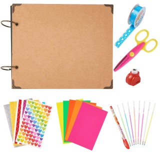 DIY Photo Album Scrapbook Set, with Loose-leaf Photo Albums, Photo Corners, Water Chalk Pen, Decorative Adhesive Tapes, Craft Lace Scissors, Printing Machine, Mixed Color