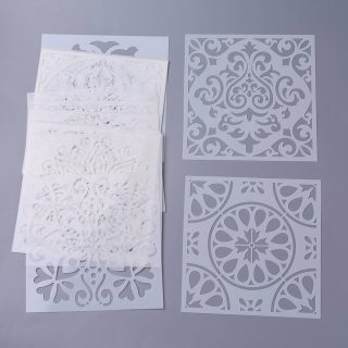 Plastic Drawing Painting Stencils Templates, Floral, White, 15x15x0.02cm; 16pcs/set