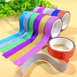 Glitter DIY Scrapbook Decorative Adhesive Tapes, Mixed Color, 15mm, 3m/roll