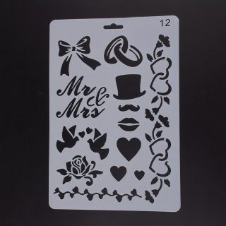 Plastic Drawing Painting Stencils Templates, Rectangle, Bowknot Pattern, White, 25.5x17.4x0.04cm