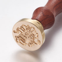 DIY Scrapbook, Brass Wax Seal Stamp and Wood Handle Sets, Christmas Bell, Golden, 8.95cm; Stamps: 2.55x1.45cm