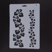 Plastic Drawing Painting Stencils Templates, Rectangle, Leaf Pattern, White, 25.5x17.4x0.04cm