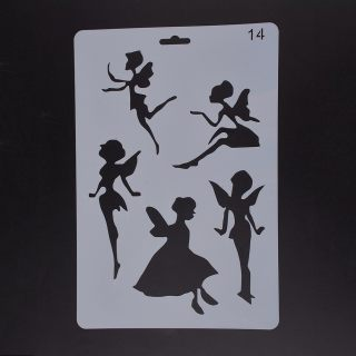 Plastic Drawing Painting Stencils Templates, Rectangle, Fairy Pattern, White, 25.5x17.4x0.04cm