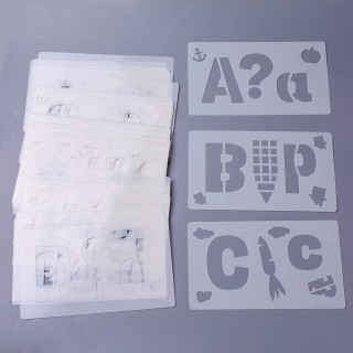 Plastic Drawing Painting Stencils Templates, Letter Theme, White, 18x10.5x0.02cm; 38pcs/set