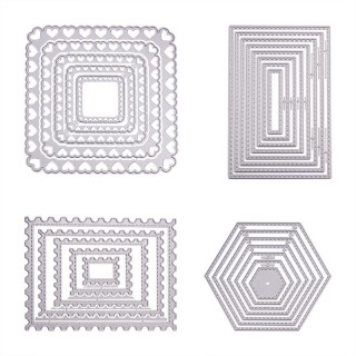 Frame Metal Cutting Dies Stencils, for DIY Scrapbooking/Photo Album, Decorative Embossing DIY Paper Card, Matte Platinum, 2.8~12.3x3.2~12.3cm