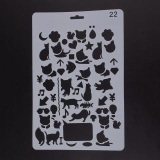 Plastic Drawing Painting Stencils Templates, Rectangle, Animal Pattern, White, 25.5x17.4x0.04cm