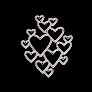 Frame Metal Cutting Dies Stencils, for DIY Scrapbooking/Photo Album, Decorative Embossing DIY Paper Card, Heart, Matte Platinum, 8.1x6.3mm
