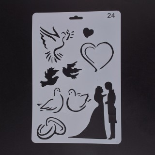Plastic Drawing Painting Stencils Templates, Rectangle, Wedding Pattern, White, 25.5x17.4x0.04cm