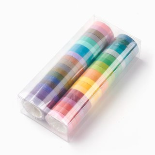 DIY Scrapbook Decorative Adhesive Tapes, Rainbow Pattern, with Plastic Box, Mixed Color, 7.5mm; 5m/roll; 40rolls/box