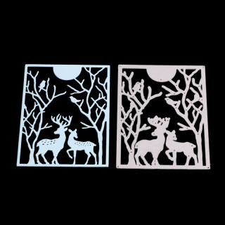 Rectangle with Christmas Reindeer/Stag Frame Carbon Steel Cutting Dies Stencils, for DIY Scrapbooking/Photo Album, Decorative Embossing DIY Paper Card, Matte Platinum, 12.7x9.5cm