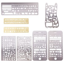 Brass&Stainless Steel Drawing Stencil, Hollow Hand Accounts Ruler Templat, For DIY Scrapbooking, Mixed Color, 125~182x30~77mm; 8pcs/set
