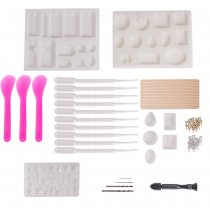 DIY Silicone Molds, For Resin Jewelry Making, Plastic Transfer Pipettes, Essential Oils Pipettes Dropper Makeup Tool, Birch Wooden Craft Ice Cream Sticks and Iron Screw Eye Pin Bail Peg, Mixed Color, 28x21x7mm