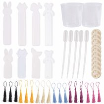 8pcs Silicone Bookmark Mold, 18pcs Assorted Silky Tassels, 10pcs Finger Cots, 5pcs Pipettes, 2pcs Measuring Cup for DIY Transparent Epoxy Resin Casting Jewelry Bookmark Mould Craft Making