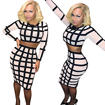 Women Leisure Checks Skirt Suits Crop Top Wrap Dress SN3451