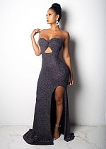 Strapless Bling Bling Bodycon Party Long Dress ZS0150