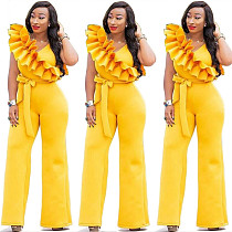Hot Sale Ruffle Pure Color Sleeveless Wide Leg Jumpsuits MY9285