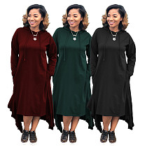 Loose Fitting Pure Color Hooded Dress For Daily Wear SMR9045