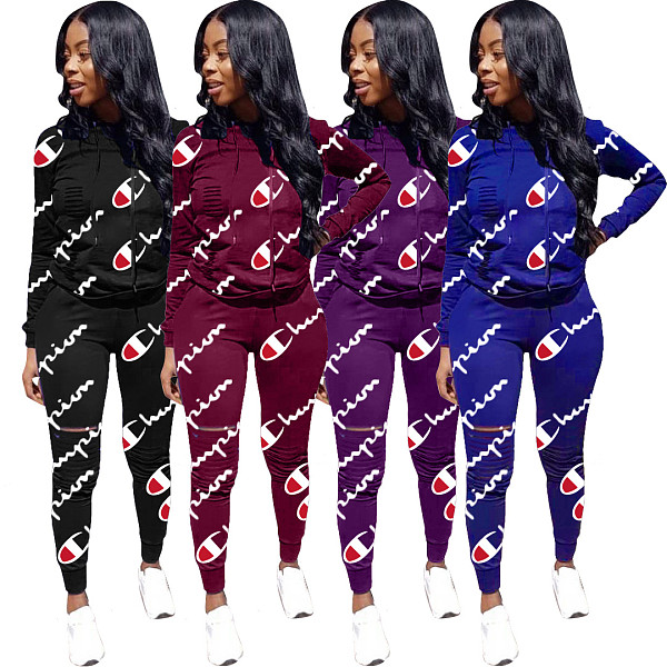 Women Fall Track Suits Hooded T-Shirt Slinky Pants D8210