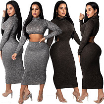 Solid Color Long Sleeve Dress Two Ways To Wear XZ2072