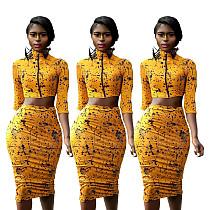 Yellow Zipper Crop Tops+Midi Skirts Sets SDD9062