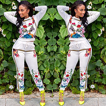 Floral Print Track Suits Casual Hoodie Elastic Tight Pants BN9043