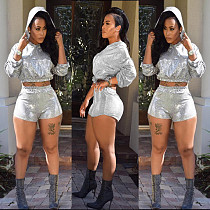 Hoodie Crop Tops Mid Waist Shorts Casual Sets MR155