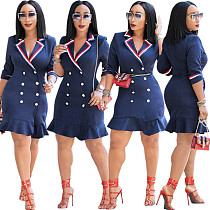 Office Ladies Pleated Half Sleeves Bodycon Dress DN8149