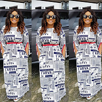 Hot Newspaper Print Long Sleeve Maxi Dresses With Belt OMY5041