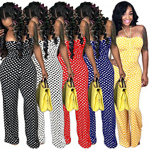 Strapless Polka Dot Wide Leg Jumpsuits WY6469