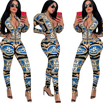 Deep V Neck Print Long Sleeves Bodycon Jumpsuits QQM3566