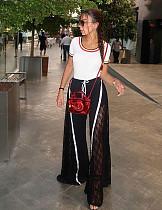 女性スプリットレースパッチワークワイドレッグパンツZS0157