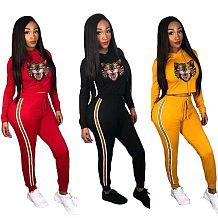 Lazer esporte roupas mulheres moletom com capuz calças skinny F8175