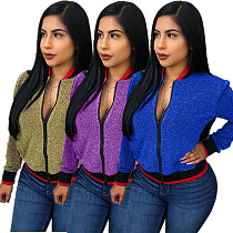 Casual Solid Sequins Jackets S6108